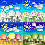 Vector illustration set of all season forest made Royalty Free Stock Photography