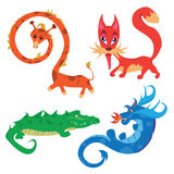 Vector illustration of a set of animals. Cartoon animals giraffe, fox, crocodile and the dragon Stock Photography