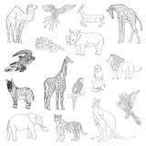 Vector illustration. Set of animals, parrot, giraffe, monkey, gazelle, elephant, rhinoceros, kangaroo, camel, lion, zebra, crocodi royalty free illustration