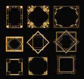 Vector illustration set of art deco frames in golden color. Vintage elements in style of 1920s for your design on black stock illustration