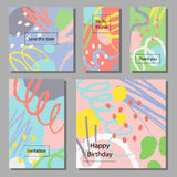 Vector illustration set of artistic colorful universal cards. Brush textures. Royalty Free Stock Photo