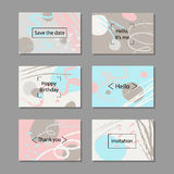 Vector illustration set of artistic colorful universal cards. Brush textures. Stock Photos