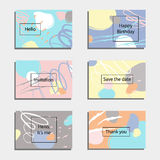 Vector illustration set of artistic colorful universal cards. Brush textures. Royalty Free Stock Photos