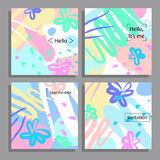 Vector illustration set of artistic colorful universal cards. Brush textures. Stock Image