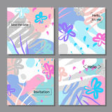 Vector illustration set of artistic colorful universal cards. Brush textures. Stock Photography