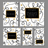 Vector illustration set of artistic colorful universal cards. Brush textures. Stock Photo