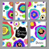 Vector illustration set of artistic colorful universal cards. Wedding, anniversary, birthday, holiday, party. Design for poster, c Royalty Free Stock Images