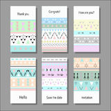 Vector illustration set of artistic colorful universal cards. Wedding, anniversary, birthday, holiday, party Royalty Free Stock Image