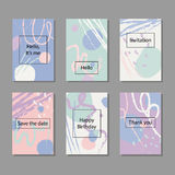 Vector illustration set of artistic colorful universal cards. Wedding, anniversary, birthday, holiday, party. Stock Images