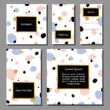 Vector illustration set of artistic colorful universal cards. Wedding, anniversary, birthday, holiday, party. Royalty Free Stock Photography