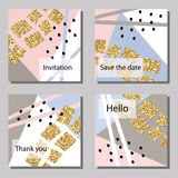 Vector illustration set of artistic colorful universal cards. Wedding, anniversary, birthday, holiday, party. Stock Image