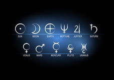 Vector illustration set astronomical symbols of planets white on black with blue background. Royalty Free Stock Photo