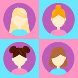 Vector illustration. set 4 avatar for users,flat round icon, fem Royalty Free Stock Images