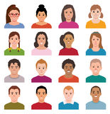 Vector illustration of a set of avatars children boys and girls Stock Images