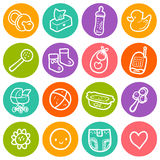Vector illustration set with baby round icons. Children toys, diapering, feeding items, stroller, bath Royalty Free Stock Photos