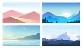 Vector illustration set of banners with landscapes, mountains view, desert, seaside in flat style and pastel colors. Vector illustration set of banners with royalty free illustration
