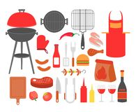 Vector illustration set of barbecue, grilled food steak, sausage, chicken, seafood and vegetables, all tools for BBQ. Party, cook food outside royalty free illustration