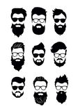 Vector illustration of set of vector bearded men faces, hipsters with different haircuts, mustaches, beards. Silhouettes stock illustration