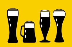 Vector illustration set of beer mugs` silhouette in black color with white labels royalty free illustration