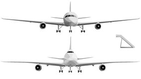 Vector illustration set of big airplane in front. Stock Photos