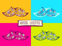 Vector illustration of set big mustache of hipster life style wi. Th different icons on color background. Art for banner, print, design, advertising, poster Stock Photos