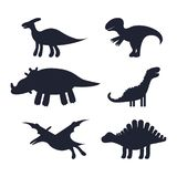 Set of black silhouettes of cute kids dinosaurs. vector illustration