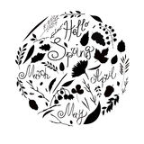 Vector illustration, set, black and white silhouette. A set of elements - symbols of spring. Leaves, branches, blades of grass, fl. Owers. Labels Hello Spring royalty free illustration