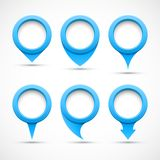 Set of blue circle pointers 3D Stock Images