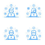 Vector illustration set of blue flat linear and outline style. Graphic design concept - web studio team. Stock Photography