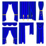 Set of blue luxury curtains and draperies vector illustration