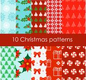 Vector illustration of set of 10 bright and fun Christmas Patterns in flat cartoon style. Vector illustration of set of 10 bright and fun Christmas Patterns in royalty free illustration