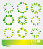 Vector illustration set of bright green icons Royalty Free Stock Images