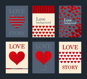 Vector illustration of a set of brochures with hearts Royalty Free Stock Photography