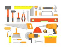 Vector illustration set of building tools and elements for building in bright colors isolated on white background in. Flat cartoon style vector illustration