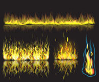 Vector illustration with set of burning fire Stock Photo