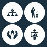 Vector Illustration Set Business Icons. Elements Company structure, Businessman in low power, House in hand and Figure Holding dia. Gram icon on white background Stock Photography