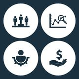 Vector Illustration Set Business Icons. Elements employee of the month winner, data analysis, men settings and Dollar with hand ic. On on white background Royalty Free Stock Photos