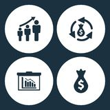 Vector Illustration Set Business Icons. Elements man diagram, money transfer, board and Money Bag icon. On white background Royalty Free Stock Images