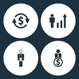 Vector Illustration Set Business Icons. Elements money convert, Human figures as a growing graph, Businessman in low power and Use. R with dollar icon on white Royalty Free Stock Photos
