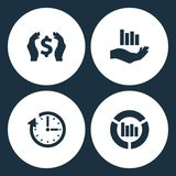 Vector Illustration Set Business Icons. Elements Money in hand, Vector growing graph, Vector clock update and Graph icon royalty free illustration