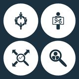 Vector Illustration Set Business Icons. Elements people network, Figure Holding Blank, search graph and Search candidate icon. On white background Stock Photo