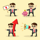 Vector illustration. Set of business man in different poses. Stock Image