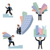 Vector illustration set of businessmans with houses standing sitting going on chart, isolated white background. Business Stock Photos
