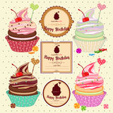Vector illustration of set cakes, cupcakes Stock Images
