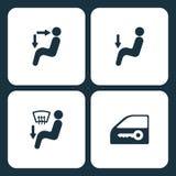 Vector Illustration Set Car Dashboard Icons. Elements Air button, Air button, Air button, and Car lock icon on white background. Vector Illustration Set Car Stock Photography