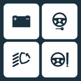 Vector Illustration Set Car Dashboard Icons. Elements car battery, Steering lock, low beam, and Power steering system icon. On white background Stock Photo