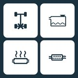 Vector Illustration Set Car Dashboard Icons. Elements Dashboard, Low coolant indicator, car problem warning, and Air filter icon. On white background Royalty Free Stock Image