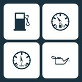 Vector Illustration Set Car Dashboard Icons. Elements Gas station, Low fuel, temperature, and Oil icon vector illustration