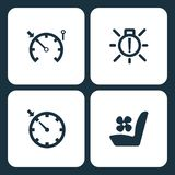 Vector Illustration Set Car Dashboard Icons. Elements speedometer, exterior bulb failure, Cruise control, and Seat fam icon. On white background vector illustration