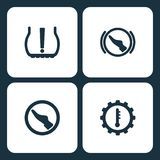Vector Illustration Set Car Dashboard Icons. Elements Tire Pressure, press brake pedal , press pedal, and motor temperature icon. On white background Stock Photography